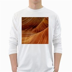 Sandstone The Wave Rock Nature Red Sand White Long Sleeve T Shirts