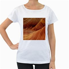 Sandstone The Wave Rock Nature Red Sand Women s Loose Fit T Shirt (white)