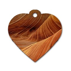 Sandstone The Wave Rock Nature Red Sand Dog Tag Heart (two Sides)