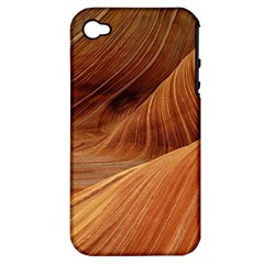 Sandstone The Wave Rock Nature Red Sand Apple Iphone 4/4s Hardshell Case (pc+silicone)