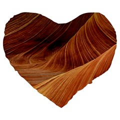 Sandstone The Wave Rock Nature Red Sand Large 19  Premium Heart Shape Cushions