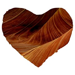 Sandstone The Wave Rock Nature Red Sand Large 19  Premium Flano Heart Shape Cushions