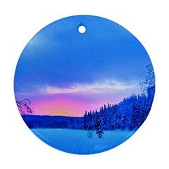 Winter Landscape Snow Forest Trees Ornament (round)