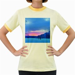 Winter Landscape Snow Forest Trees Women s Fitted Ringer T Shirts