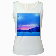 Winter Landscape Snow Forest Trees Women s White Tank Top