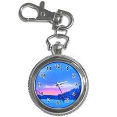 Winter Landscape Snow Forest Trees Key Chain Watches