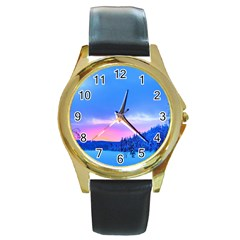 Winter Landscape Snow Forest Trees Round Gold Metal Watch