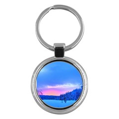 Winter Landscape Snow Forest Trees Key Chains (round)
