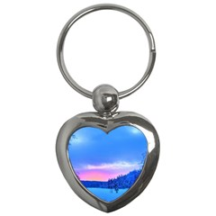 Winter Landscape Snow Forest Trees Key Chains (heart)