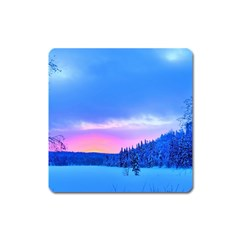 Winter Landscape Snow Forest Trees Square Magnet