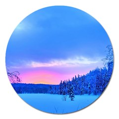 Winter Landscape Snow Forest Trees Magnet 5  (round)