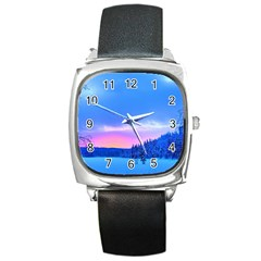 Winter Landscape Snow Forest Trees Square Metal Watch