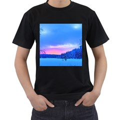 Winter Landscape Snow Forest Trees Men s T Shirt (black) (two Sided)