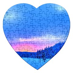 Winter Landscape Snow Forest Trees Jigsaw Puzzle (heart)
