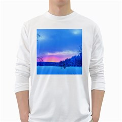 Winter Landscape Snow Forest Trees White Long Sleeve T Shirts