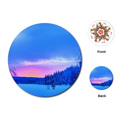 Winter Landscape Snow Forest Trees Playing Cards (round)