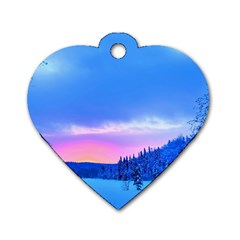 Winter Landscape Snow Forest Trees Dog Tag Heart (two Sides)