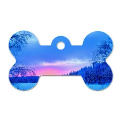 Winter Landscape Snow Forest Trees Dog Tag Bone (Two Sides)
