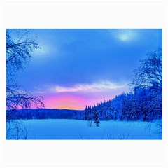 Winter Landscape Snow Forest Trees Large Glasses Cloth