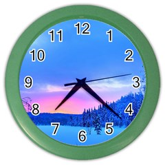 Winter Landscape Snow Forest Trees Color Wall Clocks