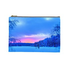 Winter Landscape Snow Forest Trees Cosmetic Bag (large)