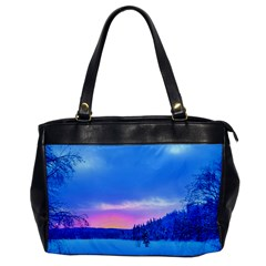Winter Landscape Snow Forest Trees Office Handbags