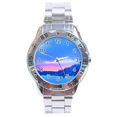 Winter Landscape Snow Forest Trees Stainless Steel Analogue Watch
