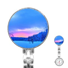 Winter Landscape Snow Forest Trees Stainless Steel Nurses Watch