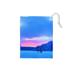 Winter Landscape Snow Forest Trees Drawstring Pouches (small)