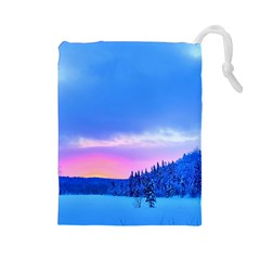 Winter Landscape Snow Forest Trees Drawstring Pouches (large)