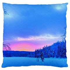 Winter Landscape Snow Forest Trees Large Flano Cushion Case (One Side)