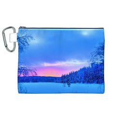 Winter Landscape Snow Forest Trees Canvas Cosmetic Bag (xl)