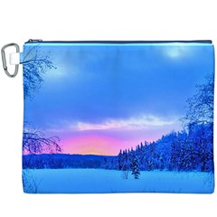Winter Landscape Snow Forest Trees Canvas Cosmetic Bag (xxxl)