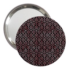 Hexagon1 Black Marble & Red & White Marble 3  Handbag Mirror