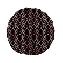 Hexagon1 Black Marble & Red & White Marble Standard 15  Premium Flano Round Cushion