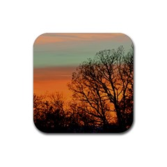 Twilight Sunset Sky Evening Clouds Rubber Square Coaster (4 Pack)
