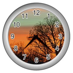 Twilight Sunset Sky Evening Clouds Wall Clocks (silver)