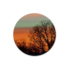 Twilight Sunset Sky Evening Clouds Rubber Round Coaster (4 Pack)
