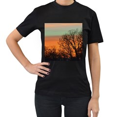Twilight Sunset Sky Evening Clouds Women s T Shirt (black) (two Sided)