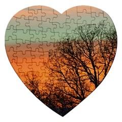 Twilight Sunset Sky Evening Clouds Jigsaw Puzzle (heart)