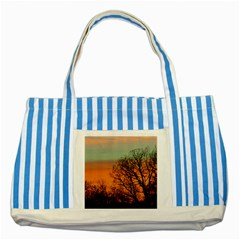 Twilight Sunset Sky Evening Clouds Striped Blue Tote Bag