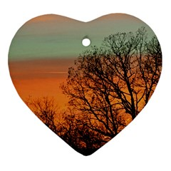 Twilight Sunset Sky Evening Clouds Heart Ornament (2 Sides)