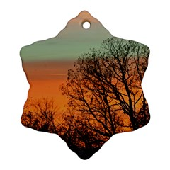 Twilight Sunset Sky Evening Clouds Snowflake Ornament (2 Side)