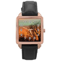 Twilight Sunset Sky Evening Clouds Rose Gold Leather Watch