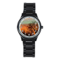 Twilight Sunset Sky Evening Clouds Stainless Steel Round Watch