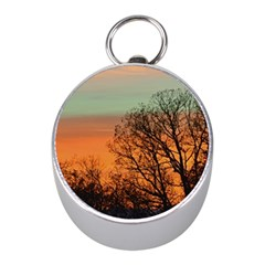 Twilight Sunset Sky Evening Clouds Mini Silver Compasses