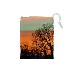 Twilight Sunset Sky Evening Clouds Drawstring Pouches (small)