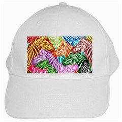 Zebra Colorful Abstract Collage White Cap