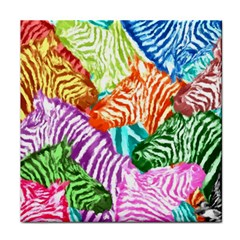 Zebra Colorful Abstract Collage Tile Coasters