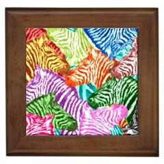 Zebra Colorful Abstract Collage Framed Tiles